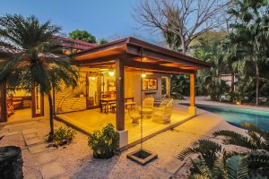 Casa Las Palmas Inclinadas-Walled Compound Steps to the Beach in Most Desirable G section – Guiones North – SOLD